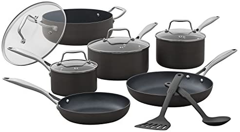 Stone Beam Kitchen Cookware Set, 12-Piece, Pots and Pans, Hard-Anodized Non-Stick Aluminum