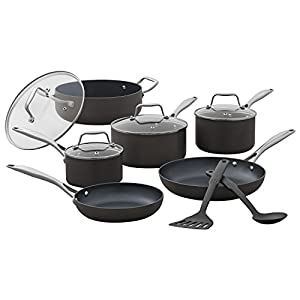 Amazon Brand – Stone & Beam Kitchen Cookware Set, 12-Piece, Pots and Pans, Hard-Anodized Non-Stick Aluminum 10