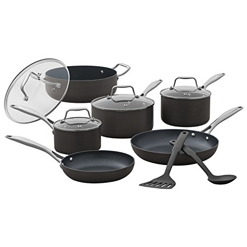 Stone & Beam Kitchen Cookware Set, 12-Piece, Pots and Pans, Hard-Anodized Non-Stick Aluminum