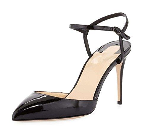 EDEFS Womens Closed Toe Ankle Strap Court Shoes High Heels Pumps Black yw2VuvE