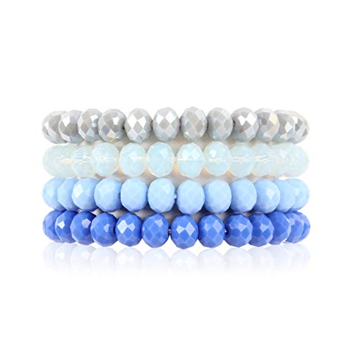 RIAH FASHION Multilayer Beaded Stretch Stacking Bracelets - Multi Strand Colorful Sparkly Beads Statement Wrap Slip-on Cuff Bangles (Sparkly Mix - Blue Mix)