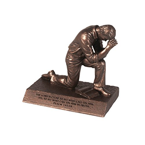 Lighthouse Christian Products Small Prayer Praying Man Sculpture, 4 1/2 x 2 3/4 x 4 1/2