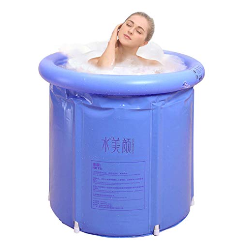 G Ganen Unisex Portable Foldable 3 Layer PVC SPA Bathtub Freestanding Bathtub, 29.5 Inch Blue