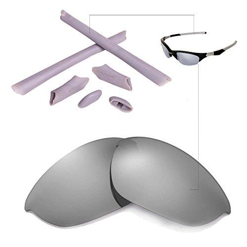 Walleva Polarized Lenses And Rubber Kit(Earsocks+Nosepads) For Oakley Half Jacket (Titanium Mirror Coated Polarized Lenses + Grey Rubber)