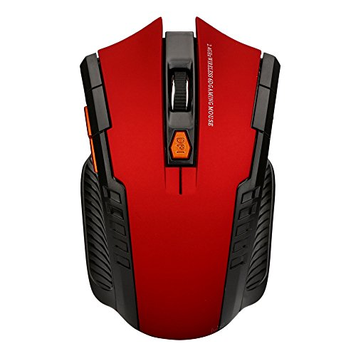 FEDULK 2.4Ghz Wireless Optical Gaming Comfortable Shape Mouse Mice& USB Receiver for PC Laptop(Red)