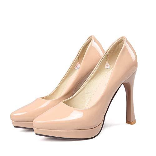 Almond Bianco Heel Nero Stiletto Tacchi In Estate QOIQNLSN amp; Donna Primavera Di Da Mandorla Pelle Brevetto Scarpe Comfort BWqfw6T