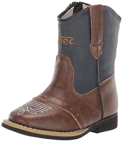 AdTec Boys 6in Side Zipper Western Cowboy Boots PU,Navy Blue, 9 M US Toddler