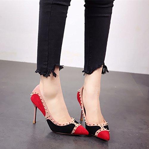 remachado europea zapato sexo FLYRCX de afilado a La Zapatos zapatos solo fiesta de señoras tacón delgado moda delgado qEnpt