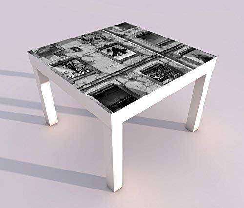 Diseño - Mesa con UV Presión 55x55cm Negro Blanco Antiguo Hotel Lisboa Arte Diseño Juego de Mesa Laca Mesas Imagen Habitación de Niño Mueble 18A1350-55x55cm: Amazon.es: Hogar