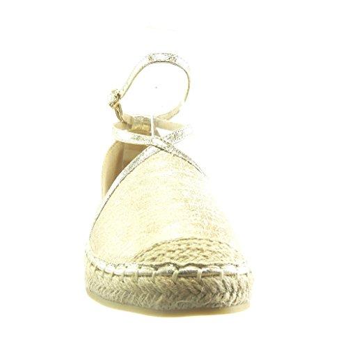 Angkorly - Chaussure Mode Espadrille Sandale ouverte femme peau de serpent multi-bride corde Talon bloc 2 CM - Or