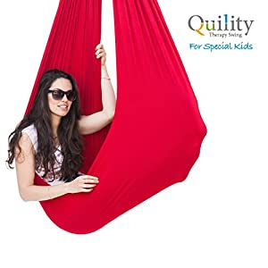 Quility Indoor Therapy Swing for Kids with Special Needs | Lycra Snuggle Swing | Cuddle Hammock for Children with Autism, ADHD, Aspergers | Ideal for Sensory Integration (Up to 165lbs, Red)
