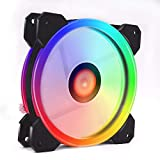 RGB LED PWM Case Fans 120mm, Hamkot Quiet Edition High Airflow Adjustable Colorful PC Case CPU Computer Cooling with Coolers, Radiators System