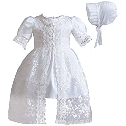 Romping House Newborn Baby Girls 3Pcs Organza Lace-Overlay Christening Gown Baptism Dress Formal Dress Outfit With Bonnet Ivory 12M