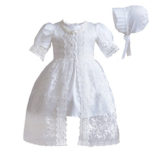 Romping House Newborn Baby Girls 3Pcs Organza Lace-Overlay Christening Gown Baptism Dress Formal Dress Outfit with Bonnet Ivory 18M