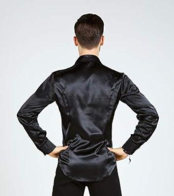 SCGGINTTANZ Serie Superstar: G5022 Latino Moderno Baile de salón Material de satén Profesional Camisa de algodón para Hombres ((SBS) Black, S): Amazon.es: Deportes y aire libre