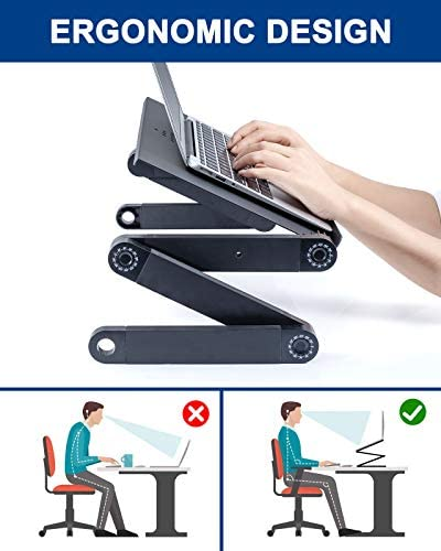 Adjustable Laptop Table, RAINBEAN Laptop Stand for Bed Portable Lap Desk Foldable Laptop Workstation Notebook Riser with Mouse Pad Side Ergonomic Computer Tray Reading Holder TV Bed Tray Standing Desk