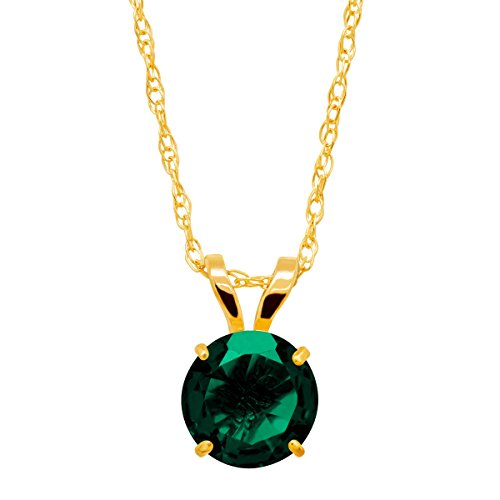 3/4 ct Created Emerald Round-Cut Solitaire Pendant Necklace in 10K Gold