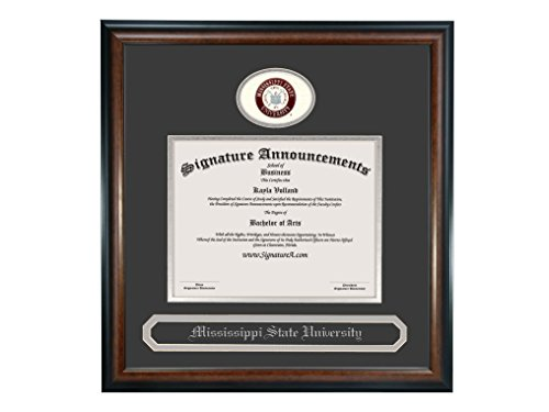 Signature Announcements Mississippi State University (MSU) Undergraduate and Graduate Graduation Diploma Frame with Sculpted Foil Seal & Name (Matte Mahogany, 16 x 16)