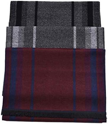 Grau and Weiss DaoRier Herren Halst/ücher Herren Mode Britischer Stil Streifen Deckenschal Business Schal mit Quaste f/ür M/änner Geschenk