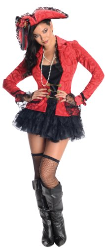 Secret Wishes Seductive Pirate Captain, Red/Black, Large -