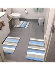 HEBE 3 Pieces Striped Soft Bath Rugs Set Non Slip Shaggy Microfiber Bath Shower Mats Set Luxury Plush Absorbent Machine Washable Spa Rugs for Bathroom, Tub and Shower