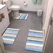 HEBE 3 Pieces Striped Soft Bath Rugs Set Non Slip Shaggy Microfiber Bath Shower Mats Set Luxury Plush Absorben