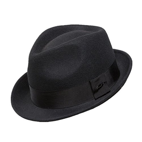 Home Prefer Men's Wool Felt Winter Hat Short Brim Fedora Hat Black Medium -