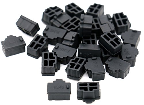 iExcell 50 Pcs Black Ethernet Hub Port RJ45 Anti Dust Cover Cap Protector Plug