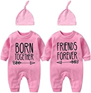 YSCULBUTOL Baby Twins Bodysuit Born Together Friend Forever Baby boy Clothes Toddler Girl Clothes