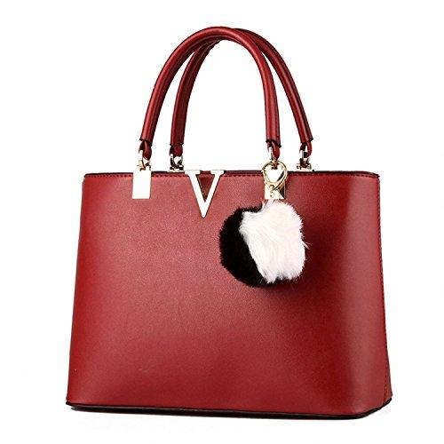 SILI Women Faux Leather Handbag Zipper Shoulder Bag Top Handle Handbag Fashion Designer Lady Purse Wine (Discount Designer Bags)