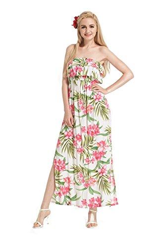 Doppio Muumuu Ruffle spalline Havai White in Made giallo floreale Floral Luau Pink Maxi con with In Abito Rosa senza Hawaii zFnCxqXI