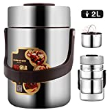 Vacuum Bento Lunch Box Food Carrier 304 Stainless Steel Insulated Thermos Food Container Storage Carrier, Leakproof BPA-Free 3 Tier Thermal Insulating Lunch Box, Keep Warm 6 hours (2.0L, Silver)