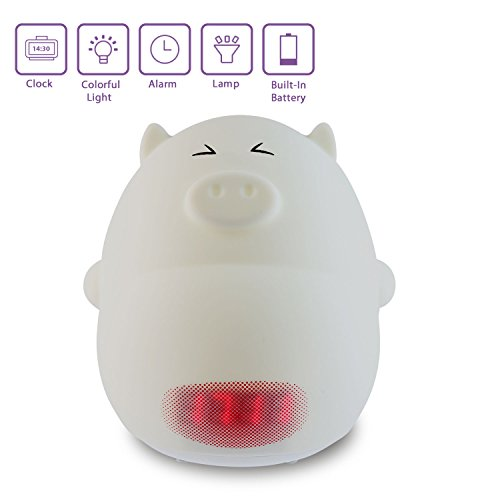 Cute Alarm Clock Night Light,Umiwe Silicone Cartoon Lamp for Kids -3 Sounds, 7 Colors, Tap Control, Temperature Display (Pig C) by Umiwe