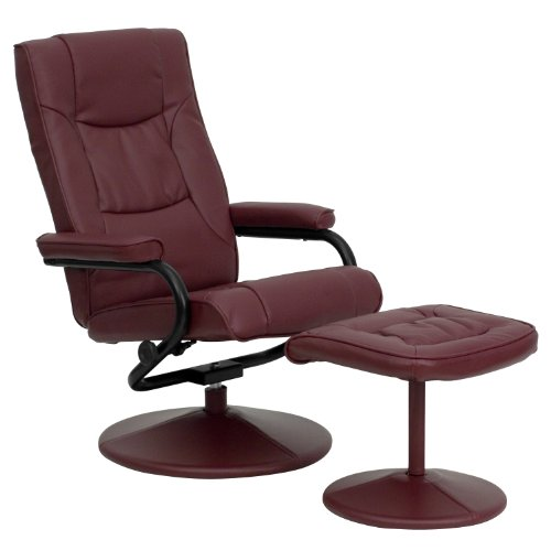 My Friendly Office MFO Contemporary Burgundy Leather Recliner and Ottoman with Leather Wrapped -