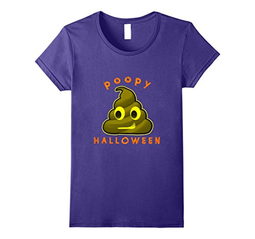 Womens Poopy Halloween Spooky T-Shirt Scary Costume Large Purple (Play On Words Halloween Costumes For Groups)