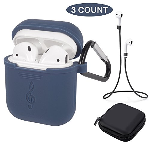 Tutor AirPods Silicone Case Shock Proof Protecitive Cover and Anti-Lost Strap and Headphone Case Compatible Apple AirPods (Navy)