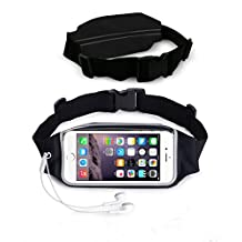 NOKEA Running Belt Waist Pack with Zipper for iPhone 6, 6S, 6 Plus, 6S Plus, Samsung Galaxy S5, S6, S7,Edge, Note 3, 4, 5, LG G3 G4 G5, Water Resistant Expandable Runners Waist Belt Bag (Black)
