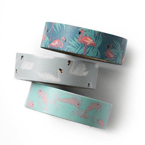 Plum Flamingo (Washi tape set - flamingo - value pack - DIY - packaging - decorative tape - flamingo - swan - dolphin Love My Tapes)