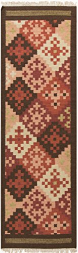 2.5' x 8' Diagonal 8-bit Graphic Style Ruby Red and Georgia Peach Wool Area Rug Runner
