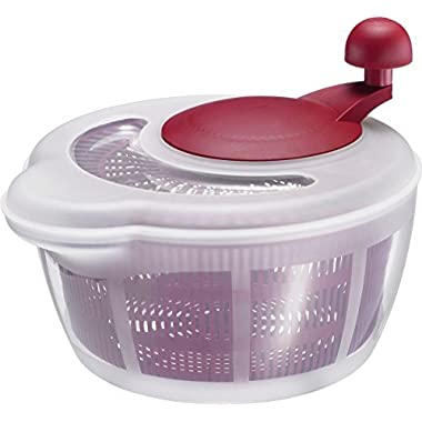 Westmark Salad Spinner Dual Function Both a Salad Spinner and a Salad Bowl with Lid (Red)