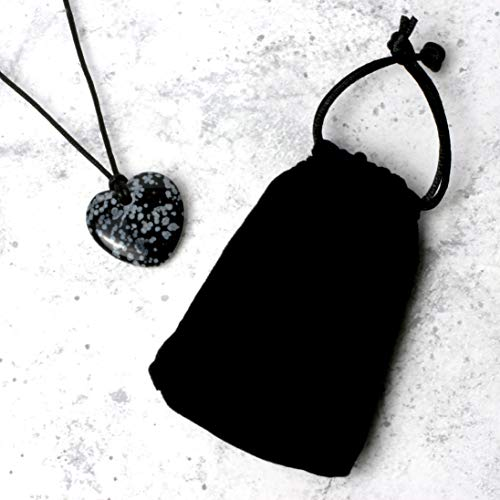 CrystalAge Snowflake Obsidian Heart Necklace & Gift Pouch