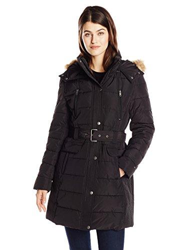 Tommy Hilfiger Women's Down Alternative Coat with Faux Fur Trim Hood and Striped Belt, Black, Small - Belted Fur Belt
