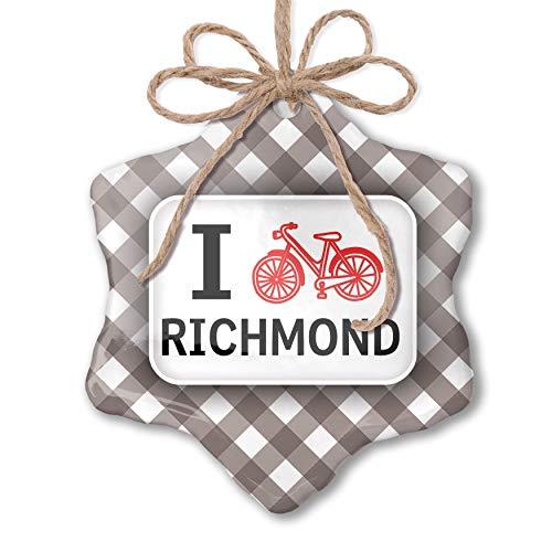 NEONBLOND Christmas Ornament I Love Cycling City Richmond Grey White Black Plaid