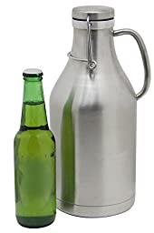 64oz Stainless Steel Growler - Vacuum Sealed Double Walled Insulation w/ Handle