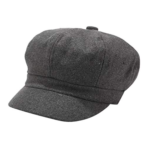Corduroys Cotton Vintage (Suma-ma Womens Fashion Elegant Corduroy Cap, Ladies Vintage Winter Solid Color Hat Beret Cap Painter Newsboy Hats(Dark Gray,One Size))