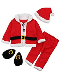 SUPEYA Toddler Baby Santa Christmas Tops+Pants+Hat+Socks Outfits Costumes 4Pcs Set