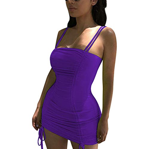 LUFENG Women's Double Spaghetti Strap Ruched Bodycon Sexy Dresses Party Night Club Dresses Purple (Night Clubs)