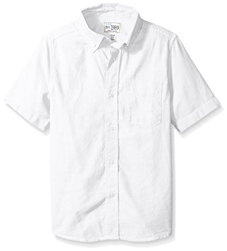 The Children's Place Big Boys' Short Sleeve Uniform Oxford Shirt, White 4765, Large/10/12 -