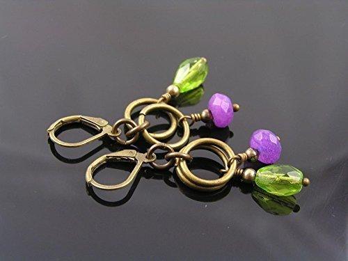 Purple Jade Drop - Purple Jade and Bright Green Czech Drop Earrings