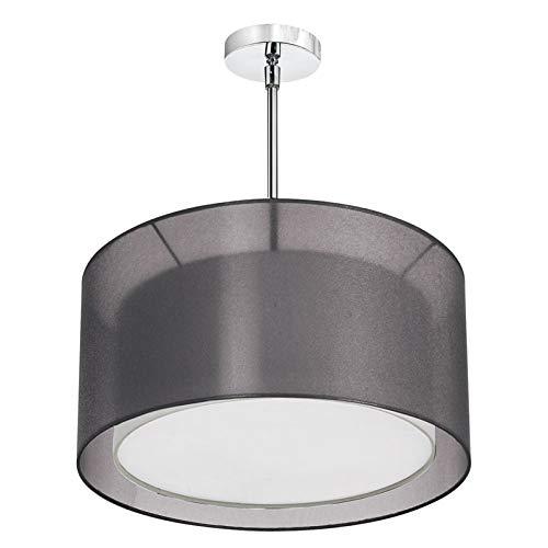 - Dainolite Lighting MEL228-SC-815 3-Light Pendant with Outside Shade Black Laminated Organza and Inside Shade White Fabric, Satin Chrome Finish